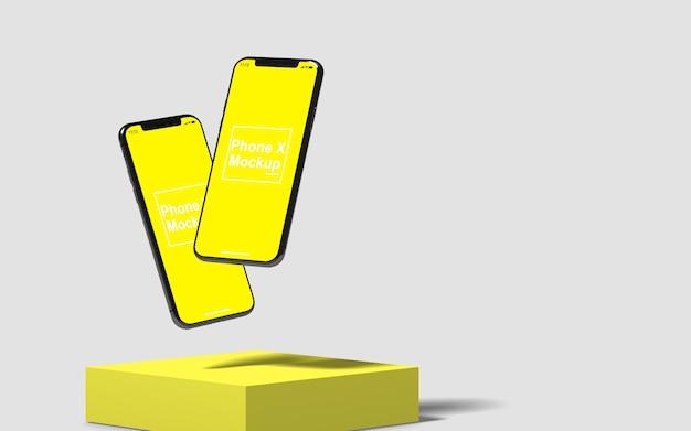Vista lateral da maquete de telefones celulares