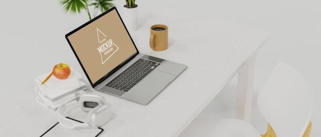 Vista lateral da mesa de trabalho branca na sala branca estilo laptop tela em branco estilo mínimo renderização em 3d