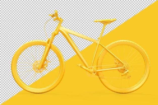Vista lateral da renderização amarela da bicicleta