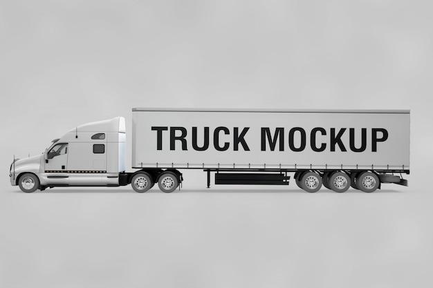 Vista lateral, de, caminhão, mockup