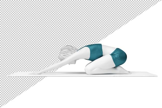 Vista lateral de mulher fazendo pose de criança alongamento na esteira de exercícios