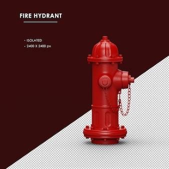 Vista lateral direita de hidrante vermelho isolado