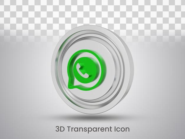 Vista lateral do design do ícone do whatsapp renderizado em 3d