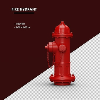 Vista lateral esquerda do hidrante vermelho isolado