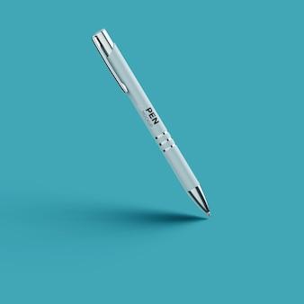 Vista lateral realista da maquete de caneta de luxo isolada