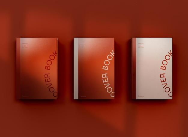 Vista superior 3d da maquete de três livros de capa dura