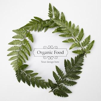 Vista superior alimentos orgânicos com conceito de mock-up