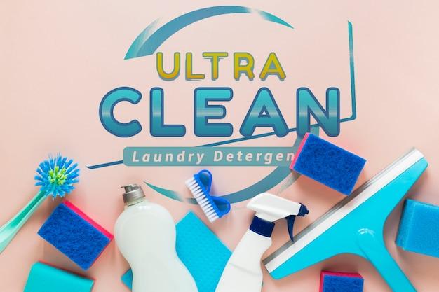 Vista superior azul equipamento de serviço de limpeza