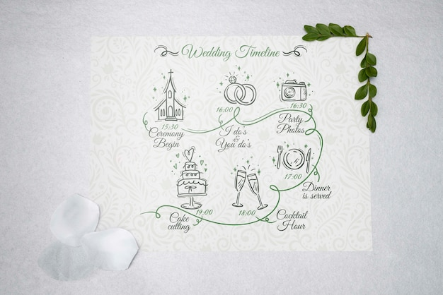 Vista superior cartão com casamento