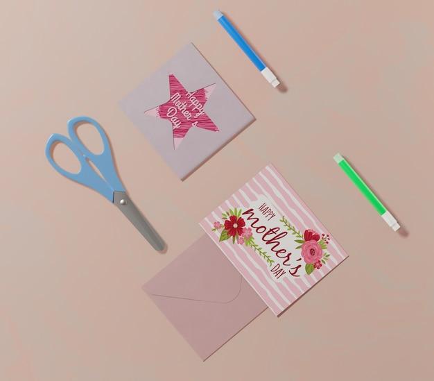 Vista superior cartão de dia das mães
