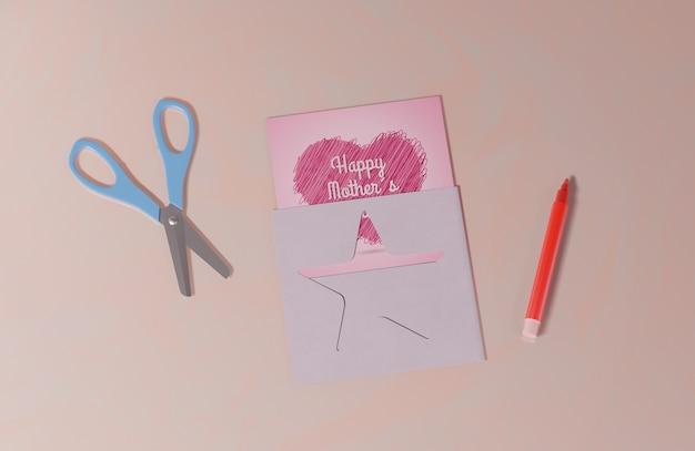 Vista superior cartão de dia das mães Psd grátis