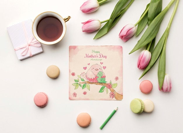 Vista superior conceito de cartão de dia das mães
