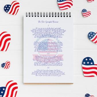 Vista superior conceito de dia da independência com maquete