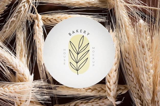 Vista superior conceito de padaria com trigo