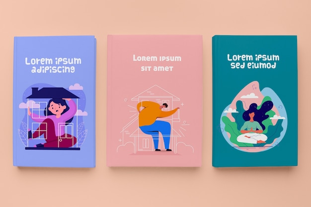 Vista superior conjunto de maquetes de livros diferentes