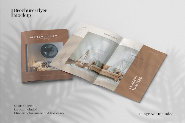 Vista superior criativa e minimalista da maquete do folheto ou do catálogo da revista