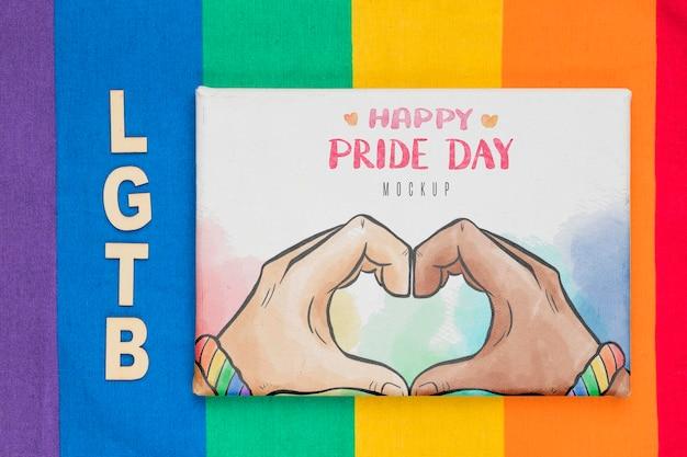 Vista superior da bandeira do arco-íris com saudação