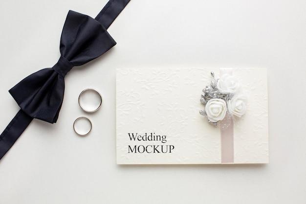 Vista superior da bela maquete do conceito de casamento
