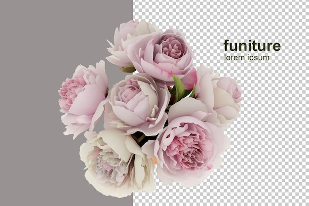 Vista superior da cesta de flores em renderização 3d