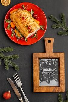 Vista superior da deliciosa maquete de comida de natal