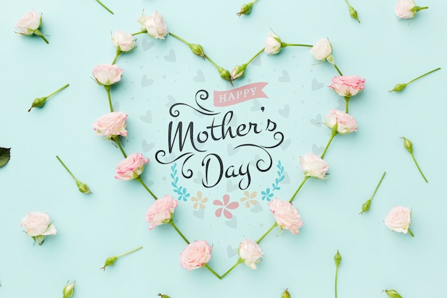 Vista superior da forma de coração rosa para dia das mães