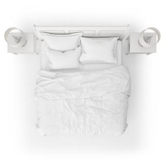 Vista superior da maquete de cama com mesas de cabeceira