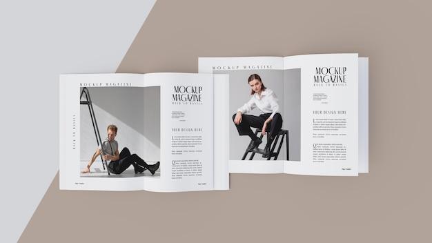 Vista superior da maquete de design de revista aberta