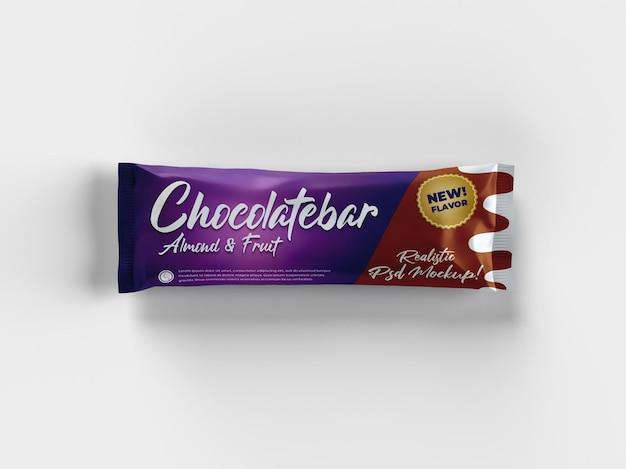 Vista superior da maquete de embalagem realista com barra de chocolate lanche brilhante