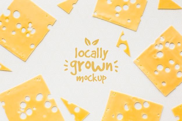 Vista superior da maquete de queijo cultivado localmente