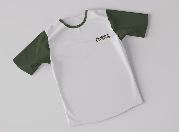 Vista superior da maquete de t-shirt