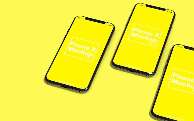 Vista superior da maquete de telefones celulares