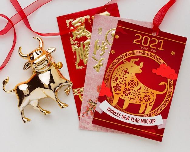 Vista superior da maquete do ano novo chinês
