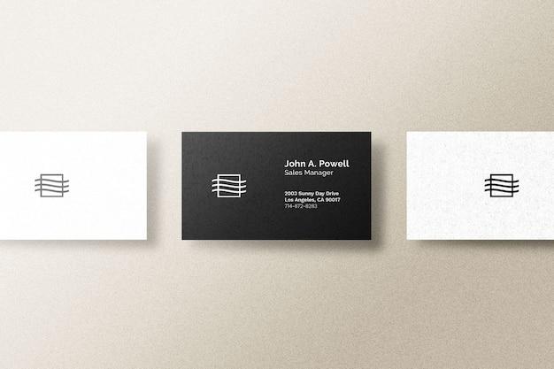Vista superior da maquete do cartão de visita isolada