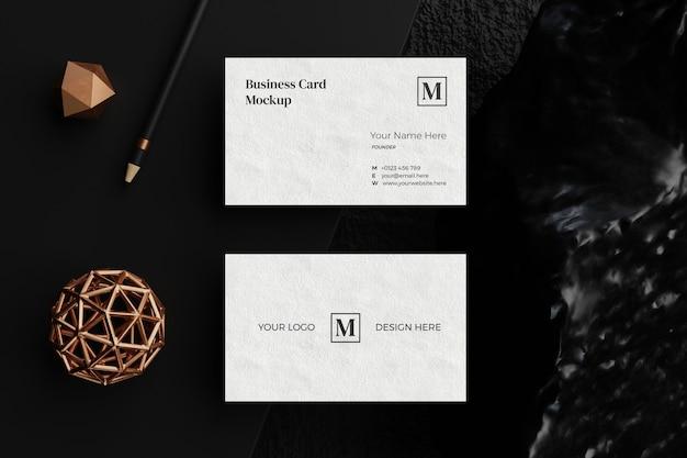 Vista superior da maquete do cartão de visita
