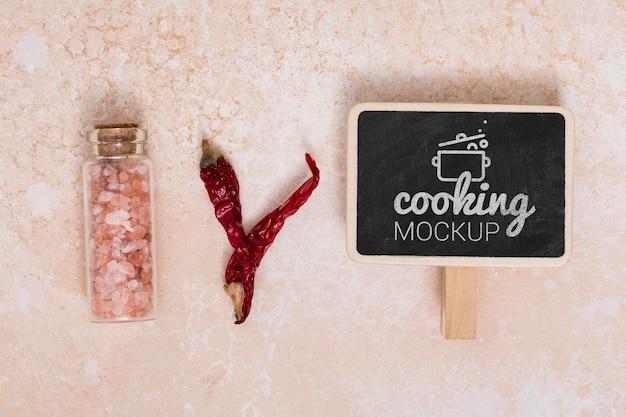 Vista superior da maquete do conceito de cozinhar em casa