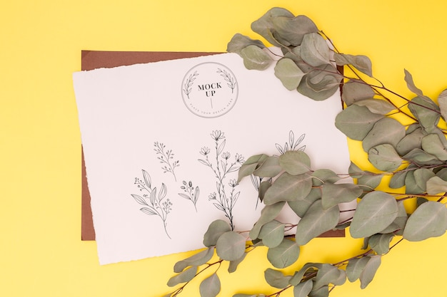 Vista superior da maquete do conceito de folhas