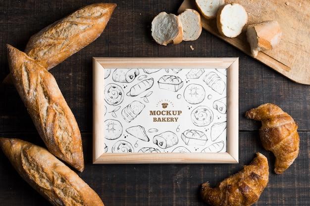 Vista superior da maquete do conceito de padaria