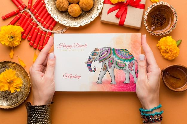 Vista superior da maquete do feriado do festival de diwali