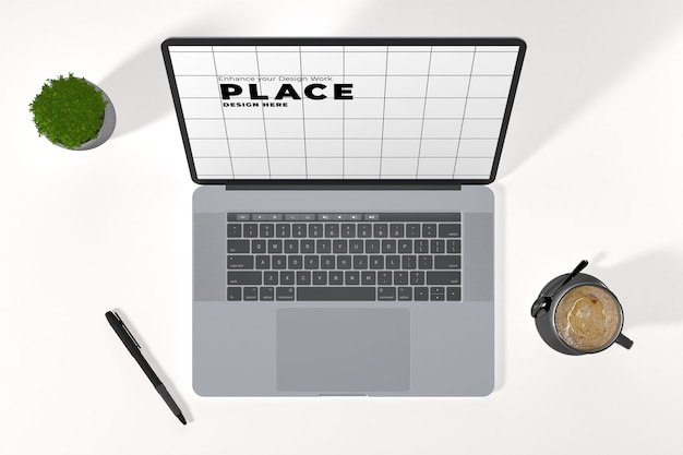 Vista superior da maquete do laptop com xícara de café