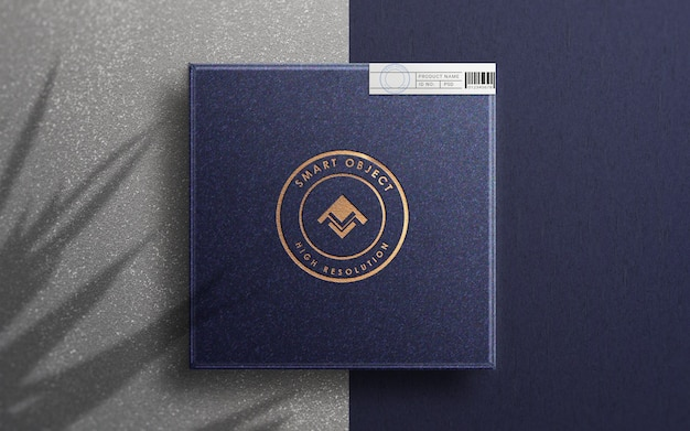 Vista superior da maquete do logotipo na caixa do produto de luxo