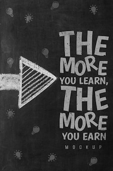 Vista superior da mensagem de motivação em giz