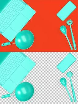 Vista superior da mesa da cozinha com laptop e utensílios