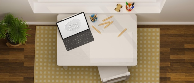 Vista superior da mesa de estudo infantil com papel para tablet digital e lápis de cor na sala de estar. renderização 3d