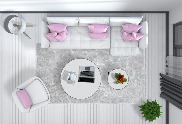 Vista superior da moderna sala de estar interna