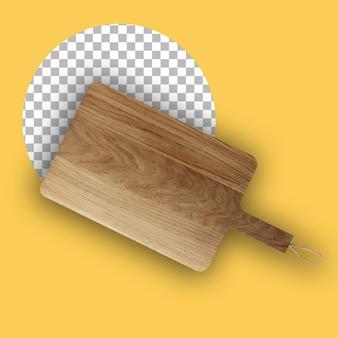 Vista superior da placa de corte de madeira isolada