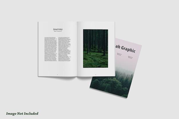 Vista superior da revista ou brochura e maquete da capa premium psd
