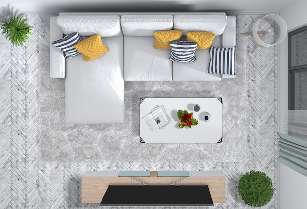 Vista superior da sala de estar interna com smart tv em renderização 3d