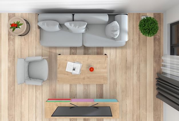 Vista superior da sala interior com tv inteligente