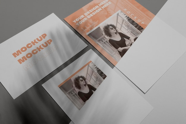 Vista superior da sobreposição de sombra de brochura