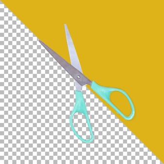 Vista superior da tesoura de papel azul isolada